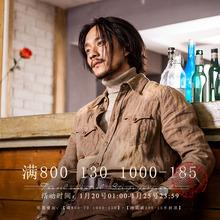 SOARIno原创设计英so麻料衬衫男 vintage复古休闲衬衣外套寸衫