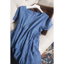 202np新式 重磅gj丝蓝色渐变格子大码中长式 连衣裙宽松腰女裤