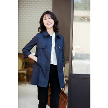 芝美日np 减龄时尚ab中长式藏青薄式风衣外套女春秋通勤新式