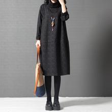 十暮棉nq装新式20jx款宽松大码女装时尚高领中长式长袖连衣裙