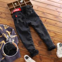 男童黑nq加绒牛仔裤ng裤子冬式韩款宝宝一体绒软牛仔(小)脚裤