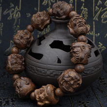 越南皮nr木沉香木雕yl罗汉貔貅佛珠男女式手串黑檀乌木手链