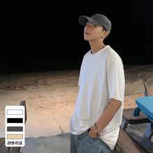 ONEnuAX夏装新ng韩款纯色短袖T恤男潮流港风ins宽松情侣圆领TEE