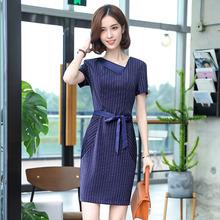 [nupg]短袖条纹时尚女装连衣裙