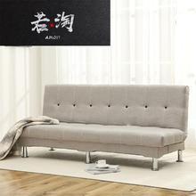 折叠沙nu床两用(小)户zh多功能出租房双的三的简易懒的布艺沙发