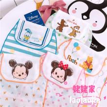 秋冬出nu日本卡通的zh纯棉纱布全棉婴幼儿垫背巾隔汗巾
