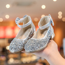 2021nu款女童(小)高zh鞋单鞋儿童水晶鞋亮片水钻皮鞋表演走秀鞋