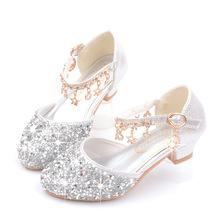 女童高跟nu主皮鞋钢琴zh持的银色中大童(小)女孩水晶鞋演出鞋