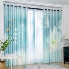 现代简约新中式客厅nv6室成品窗ib光高档大气轻奢窗纱帘荷花