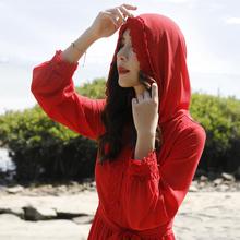 沙漠长nv沙滩裙21ox仙青海湖旅游拍照裙子海边度假红色连衣裙