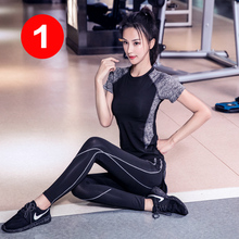 瑜伽服nw新式健身房sk装女跑步速干衣夏季网红健身服时尚薄式