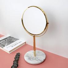 北欧轻nxins大理xw镜子台式桌面圆形金色公主镜双面镜梳妆