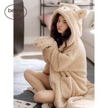 贝妍睡nx女秋冬季长xw珊瑚绒睡袍可爱卡通女士睡裙羊羔绒睡袍