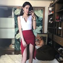 性感晚ny服女短式2ty时尚夜店宴会名媛韩款低胸包臀礼服前开叉
