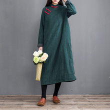 复古民ob风中式斜襟ma袍女加绒加厚连衣裙冬保暖长式棉麻袍子