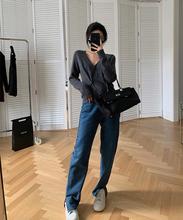 左边女ob高腰长裤女ma2020秋冬新式开叉牛仔裤