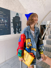 卡通牛ob外套女欧洲ec21春季新式亮片拼色宽松工装夹克上衣潮牌