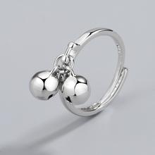 日韩双oc铛开口纯银mu5戒指女设计感简约指环(小)众冷淡风调节