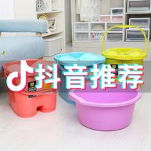 加高保oe冬季塑料洗ca脚桶宝宝家用洗脚桶带盖足浴桶