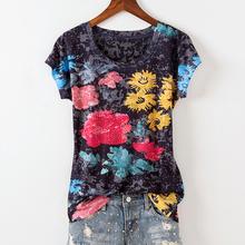 欧洲站oe020夏季fo民族风黑色彩色烫钻印花 薄式修身女短袖T恤