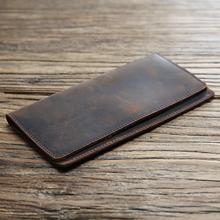[oehq]男士复古真皮钱包长款超薄