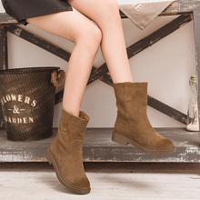 磨砂中oe靴女半高靴jo女靴平底雪地中靴新式(小)跟短靴春秋单靴
