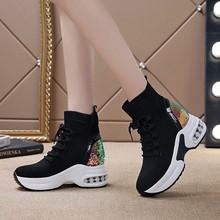 内增高of靴2020re式坡跟女鞋厚底马丁靴弹力袜子靴松糕跟棉靴