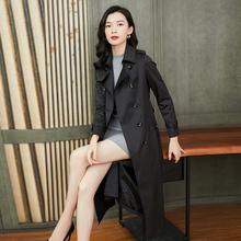 风衣女of长式春秋2ic新式流行女式休闲气质薄式秋季显瘦外套过膝
