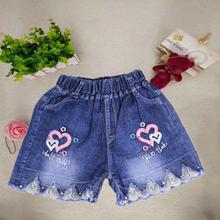 女童牛仔短裤2of420夏季ic童宽松薄式宝宝女孩夏装爆式(小)雏菊
