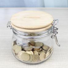 透明玻璃存钱储蓄罐大号of8钱罐卡扣ic硬币纸币存钱罐