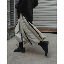 银河甜of/2020ic丝垂感做旧A字半身裙暗黑复古条纹中长裙子女