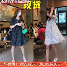 韩国夫of服饰同式纯ng连衣裙夏季韩款宽松高腰A字裙夏季裙子