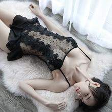新式女of白黑色透视tn花吊带蕾丝睡裙套装