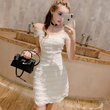 连衣裙夏201og性感漏肩夜es聚会层层仙女吊带裙很仙的白色礼服