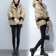 202oh新式女装蝙un薄短式羽绒服韩款宽松加厚(小)个子茧型外套冬