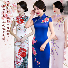 中国风oh舞台走秀演fj020年新式秋冬高端蓝色长式优雅改良