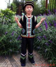 彝族方oi(小)马甲 男pm 彝族男童套装 少数民族服装 火把节服饰