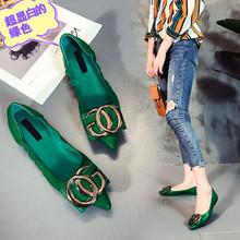 女鞋浅ok单鞋仙女舒ki2020夏季新式尖头平底鞋网红透气鞋潮流