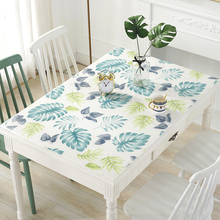 软玻璃okvc彩色防ki形防烫免洗家用桌布餐桌垫印花台布水晶款
