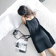 宽松黑ok睡衣女大码on裙夏季薄式冰丝绸带胸垫可外穿性感裙子