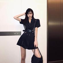 丽哥潮ol连衣裙女夏pe0新式收腰显瘦气质超A短袖西装裙