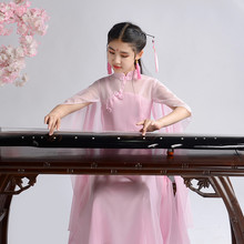 宝宝式ol中大童仙女we逸中国风钢琴二胡表演服长裙