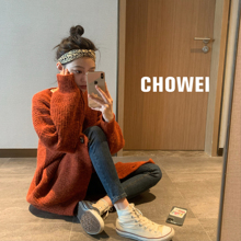 choolei【日落we针织开衫2019秋冬慵懒风中长式羊毛上衣外套女
