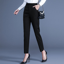 烟管裤ol2021春un伦高腰宽松西装裤大码休闲裤子女直筒裤长裤