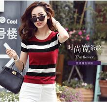 酒红色ol领条纹短袖vi2021夏新式韩款宽松百搭冰丝薄针织衫潮