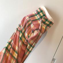 王少女ol店铺202vi新式粉色格子衬衫宽松韩款长袖百搭上衣外套
