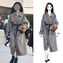 2021明星韩ol街拍同款格vi大衣中长款过膝英伦风气质女装外套