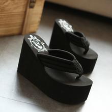 202ol夏季的字拖vi高跟12cm防滑厚底夹拖凉拖鞋松糕沙滩鞋坡跟