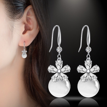 S92ol纯银猫眼石vi气质韩国珍珠耳坠流苏长式个性简约水晶耳钉