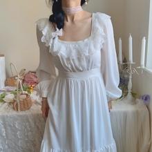 Huiolu vingne法式方领白雪公主蕾丝边白色复古长裙白月光连衣裙